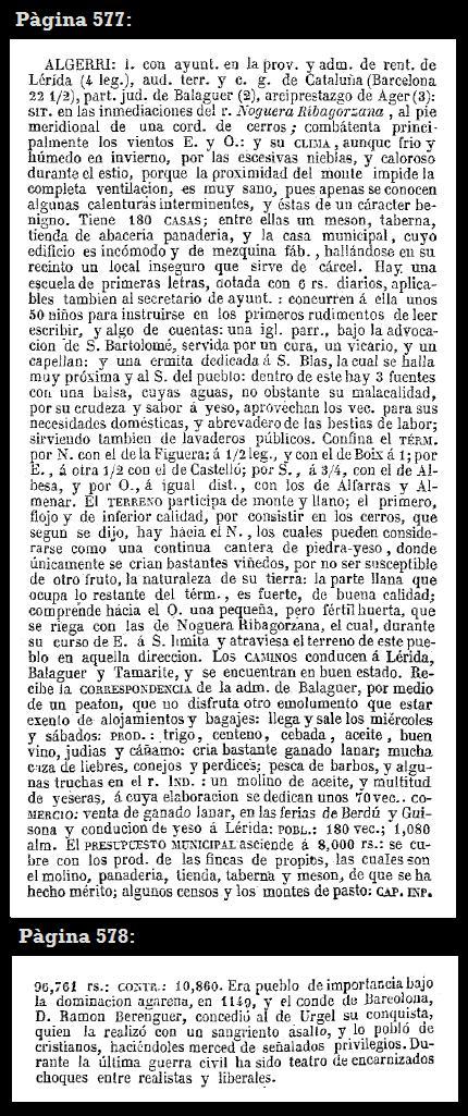 Estracte de les pàgines 577 i 578 de l'obra de Madoz de 1846 en les que es parla d'Algerri